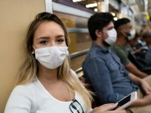 wearing masks on a train